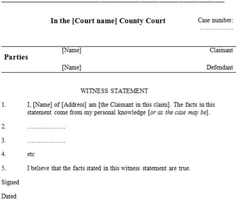 witness statement template witness statements