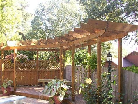 exterior small curved wooden pergola design for corner