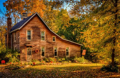Log Cabin Shower Curtain - log cabin in the fall photograph by keith allen