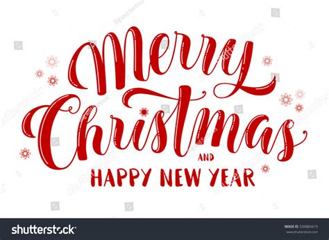 merry christmas happy new year text stock vector 534885619
