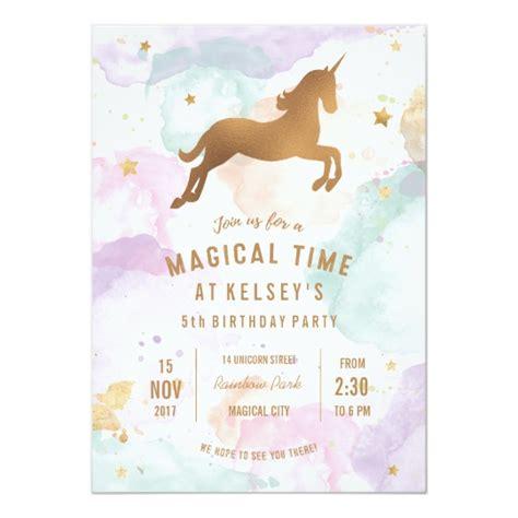 Pastel Unicorn Birthday Party Invitation Zazzle Com Unicorn Birthday Invitations Template