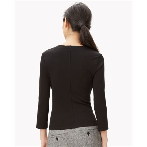 wrap knit top theory textured knit wrap top in black lyst