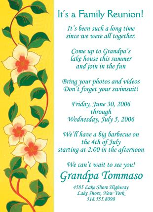 25 personalized family reunion invitations frf 02 yellow