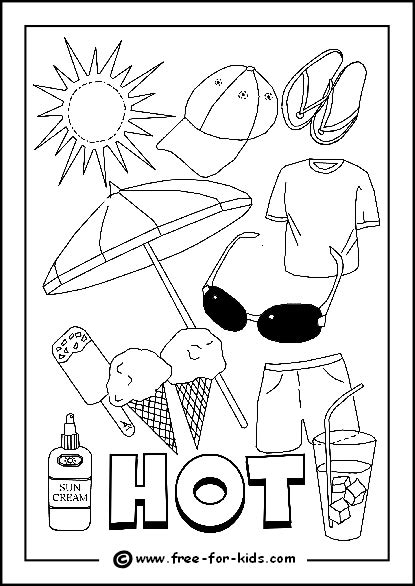 free coloring pages of hot and cold day