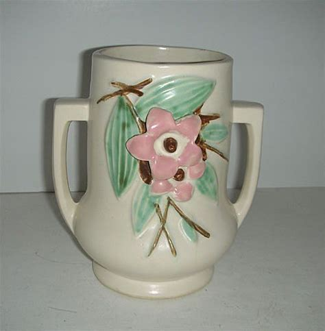 Time Pottery Vases by Mccoy Handled Blossom Time Pottery Vase Sold On
