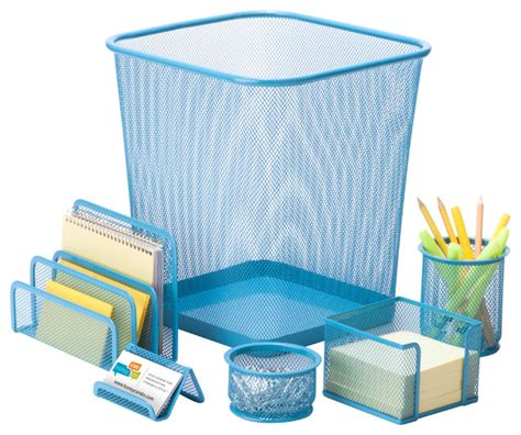 Blue Desk Accessories Honey Can Do 6 Steel Mesh Blue Desk Set Reviews Houzz