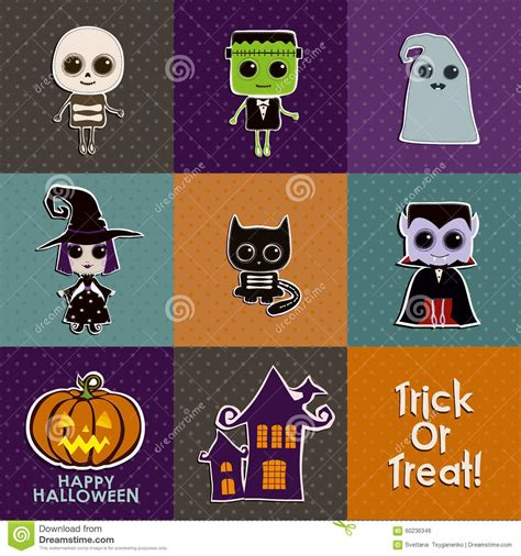 foiled trick or treat printable the happy scraps set of halloween icons stock vector image 60236346