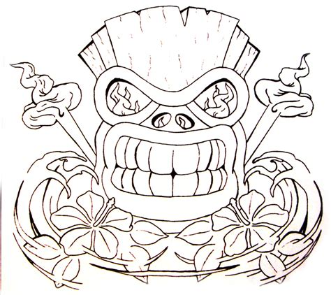 tiki head tattoo designs tiki with hawaiian hibiscus by aworldasleep on deviantart