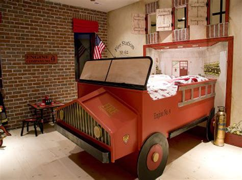 fire truck bedroom decor antique fire truck themed red boys room interior design ideas