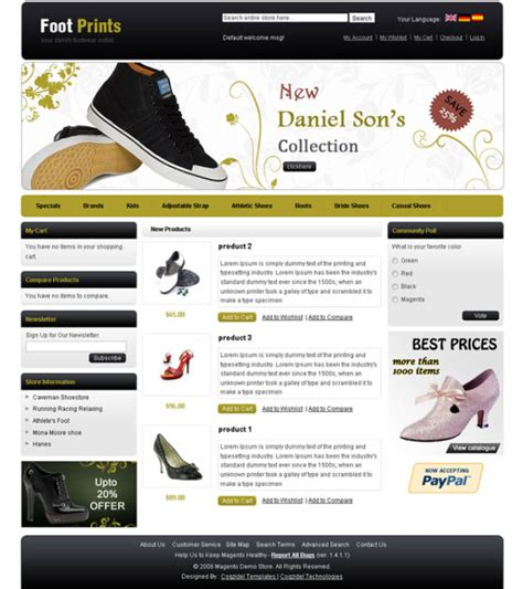 shoe website templates for a shoes stores websites drawing inspiration