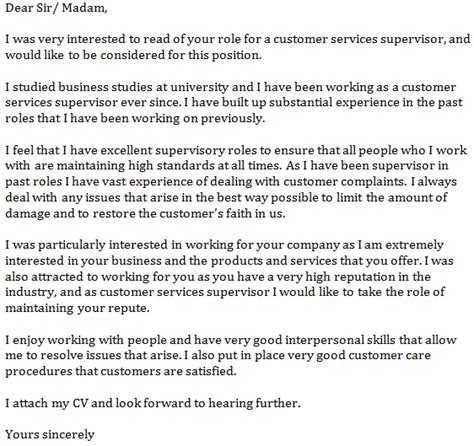 customer service supervisor cover letter cover letter exle for customer service supervisor