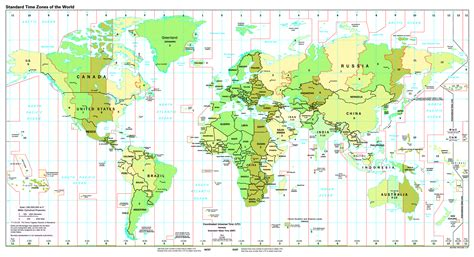printable world map time zones large detailed map of standart time zones of the world