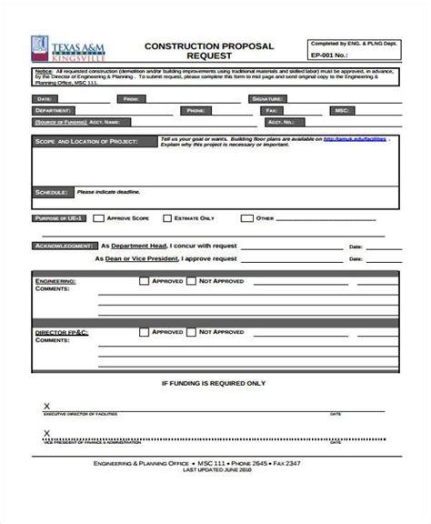 Proposal Form Templates Bid Request Template