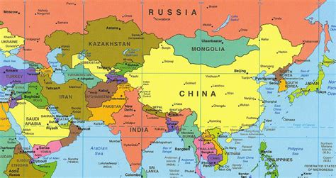 map of asai asia map with country names roundtripticket me