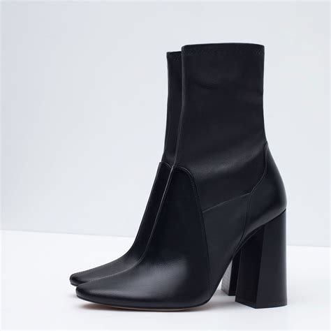 leather boots high heels zara leather high heel ankle boots in black lyst