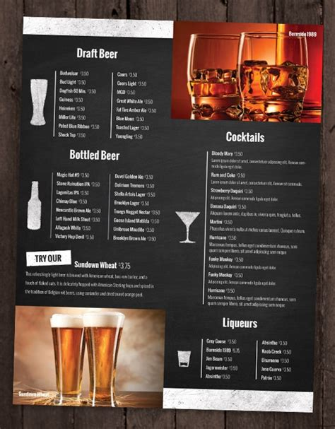 drink menu templates drink menu template invitation template