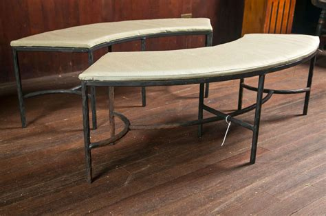 Handcrafted Benches - pair of handcrafted curved iron benches at 1stdibs