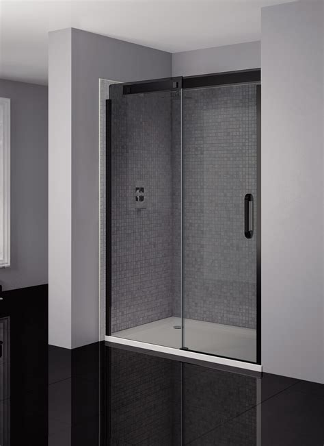 Smoked Glass Shower Doors April Prestige Frameless 1200mm Smoked Black Sliding Shower Door