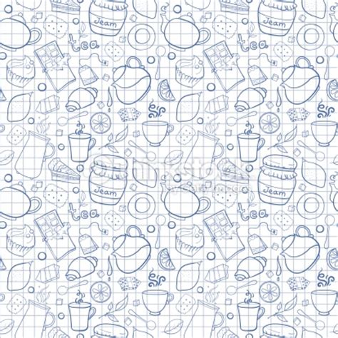 design pattern exercises tea and sweets vector seamless pattern on exercise book