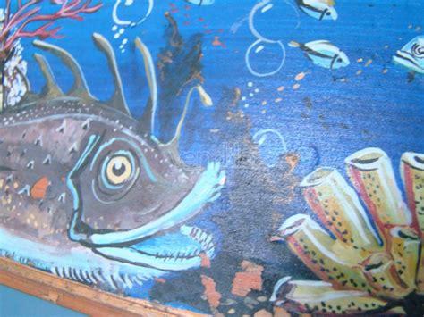 tempera su tavola quadro pesci tempera su tavoletta tavola vintage 1960