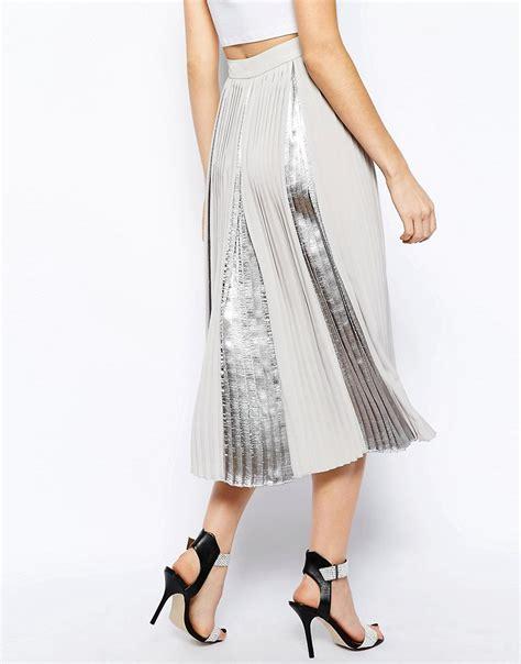 asos asos premium pleated midi skirt with metallic