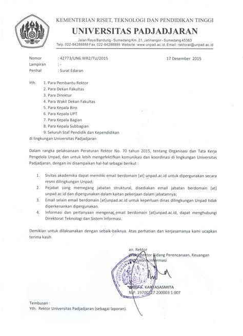 Email Unpad | surat edaran penggunaan email unpad ac id universitas