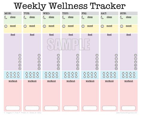 weekly wellness tracker activity log sleep diary food