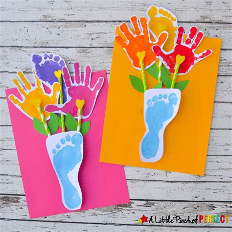 crafts with handprints and footprints handprint and footprint flowers and vase an adorable