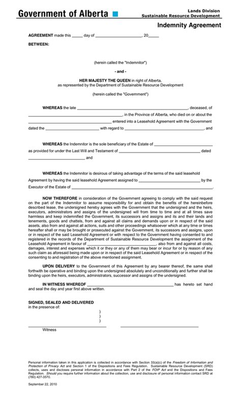 indemnification form template indemnity agreement template authorised guarantee