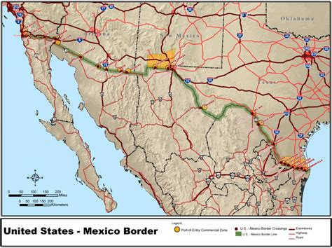 usa map with mexico map of mexico border between usa and mexico