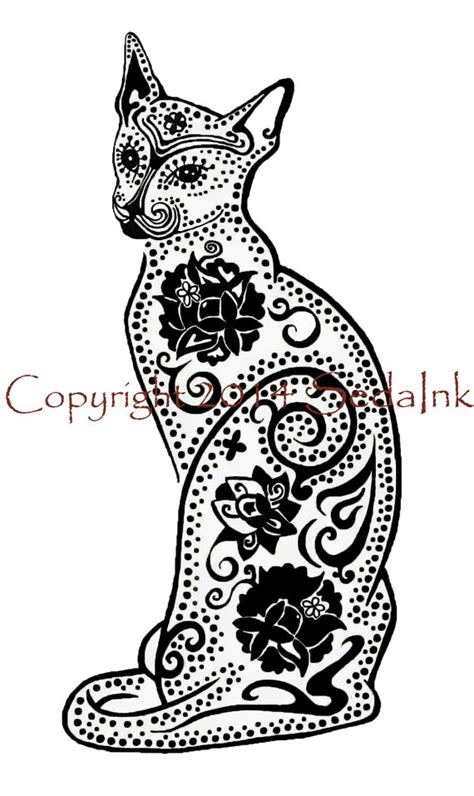 day of the dead cat coloring pages black cat art print sugar skull cat black cat art black cat