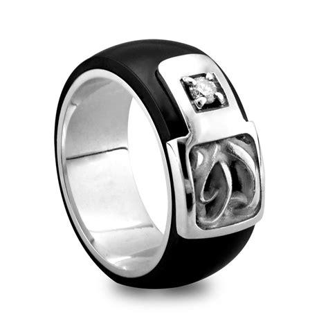 black titanium men s ring with sterling silver diamonds