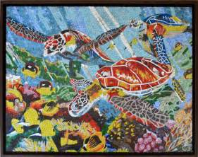 Fish Wall Murals glass and marble tiles mosaic mural mozaico
