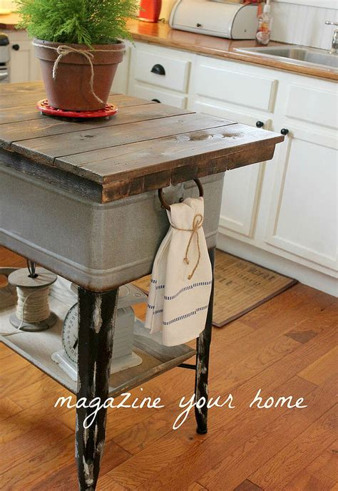 repurposed kitchen island repurposed wash tub to kitchen island hometalk