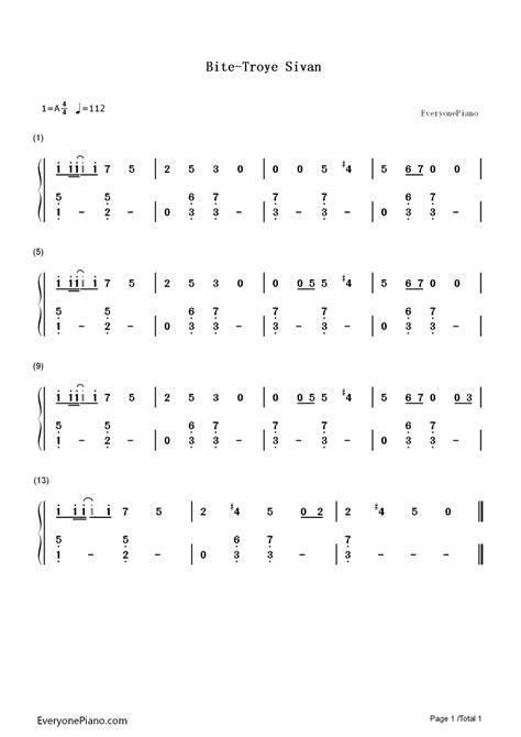 bite troye sivan bite troye sivan両手略譜プレビュー1 無料の楽譜 五線譜 両手略譜 をダウンロード