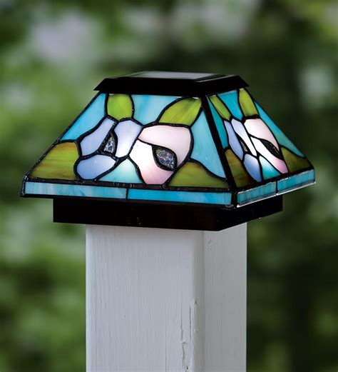 stained glass post light floral stained glass solar light post cap and rechargeable