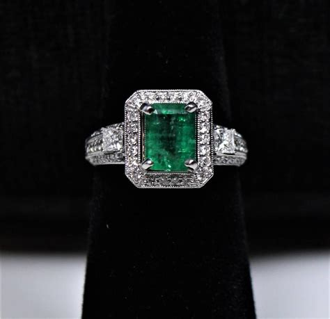 1 92 carat emerald pave gold ring for sale at 1stdibs