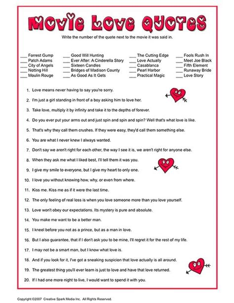 printable love games movie love quotes bridal shower game entertaining games
