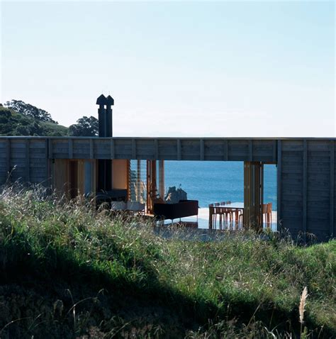 Rectangular House Plans Modern container like bach in coromandel