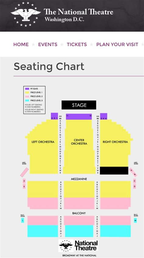 national theatre seating map national theater seating chart national theater seating