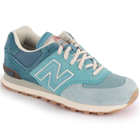 new balance 574 light blue new balance 574 ml574rsk womens suede nylon trainers