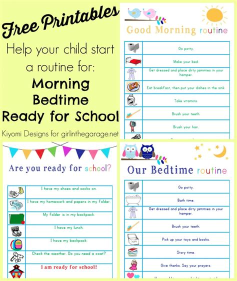 printable toddler routine kids morning bedtime and ready for school free