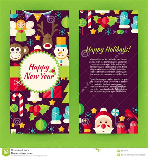happy new year element vector design flyer template of flat happy new year objects and elements