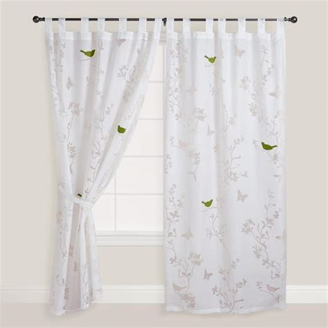 sheer curtains with birds white bird and botanical burnout curtain panel world