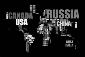 National Geographic Wall Mural world map in words by michael tompsett