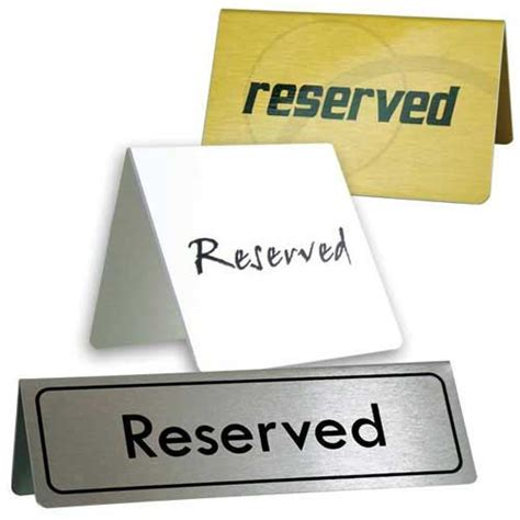 Table Signs by Table Signs Metal Reserved Signs
