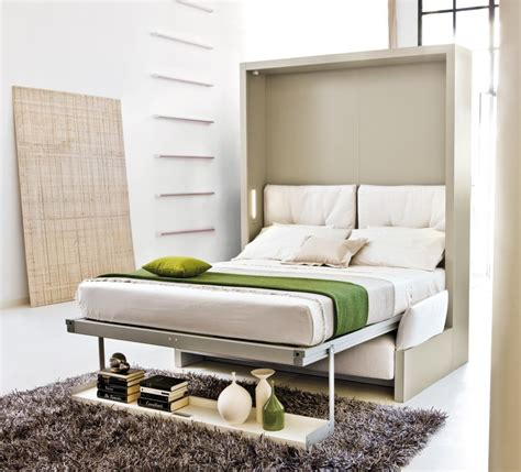light brown wooden murphy bed combined with books shelves