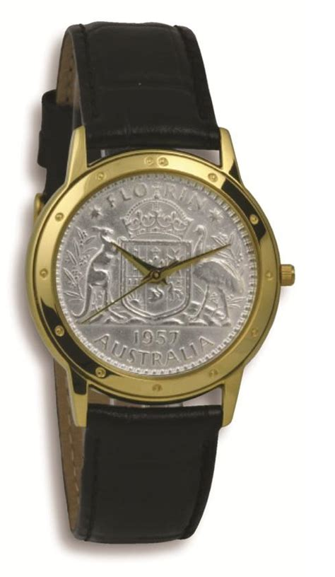 Coinwatch Contemporary Collection Silver Australian Florin with Black leather band Buy Gifts