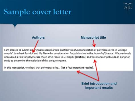 writing  cover letter   scientific manuscript