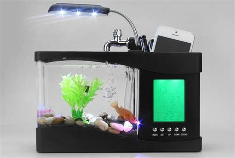 Usb Aquarium Mini aliexpress buy popular mini fish tank aquarium usb desktop lcd timer clock led l light